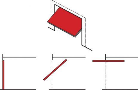 smartech tilt door diagram showing how door extends outside when opened